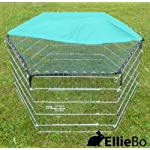 Ellie-Bo Indoor 6 Piece Galvanized Rabbit Enclosure Run with Roof Net and Base 8 Square Feet of Roaming Space 6