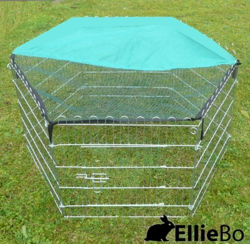 Ellie-Bo Indoor 6 Piece Galvanized Rabbit Enclosure Run with Roof Net and Base 8 Square Feet of Roaming Space 2