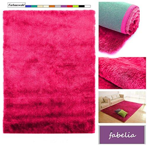 Fabelia Hochflor Teppich Shaggy Gentle Luxus - Weich und Handgetuftet (10 cm x 10 cm Muster, Pink/Rosa) (10x10 Teppiche)