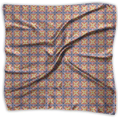 AIQIIA Unisex Bandana Head and Neck Tie Neckerchief Headdress Silk-Like,Colorful Grid Flower Pattern Ornamental Medieval Ethnic Eastern Design,Square Scarves Bandana Scarf -