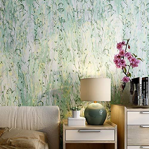 Wallpaper Moderne minimalistische frische nordische Arttapete der grünen Gartenblume purpurrote Matte Tapetenwohnzimmerschlafzimmers (Color : Green) - Frame Green Matte