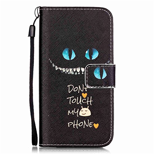 Nancen Apple iPhone 7 / 8 hülle, Flip Case Wallet Cover with Stand Function, Folio Bookstyle Handytasche Soft Silikon Bunte Muster Lederhülle Tasche PU Leder Slim Backcover Shell Handyhülle. Blue Cat Eye - don't touch my phone