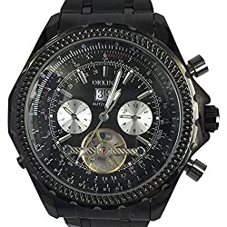 Orkina Black Case 6 Hand Hallow Dial Stainless Steel Mechanical Wrist Watch KC082SBB