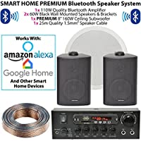 Altavoces de pared negros y subwoofer / sistema de subwoofer – Bluetooth / inalámbrico Home Cinema HiFi amplificador – Bar / Restaurante 2.1 Surround Sound Music Kit