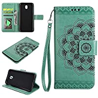(European version)Galaxy J530 / J5 2017 / J5 Pro 2017 Wallet Case, EST-EU Retro Mandala Embossing PU Leather Stand Function Protective Covers with Card Slot Holder Wallet Book Case for Samsung Galaxy J530 / J5 2017 / J5 Pro 2017, Green