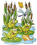 1 Bogen: Fensterbild - lustige Tiere - Frosch - Teddy auf der Insel - Seepferd - Schmetterling - Sticker Fenstersticker / z.B. für Fenster und Spiegel - statisch haftend - Aufkleber selbstklebend wiederverwendbar - Fensterfolie Fensterdeko