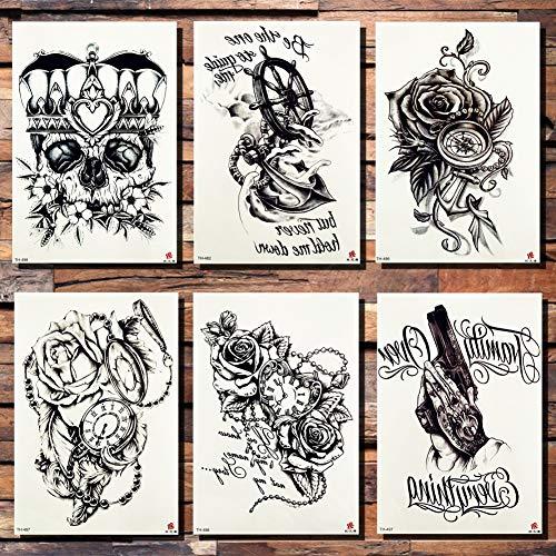 Tattoo-Aufkleber Krone Schädel Anker Blume Tätowierung Sticker Rose Pirat Taschenuhr Herz Schwarz Tattoos Body Art Fake Tatoo21X15Cm 6St ()