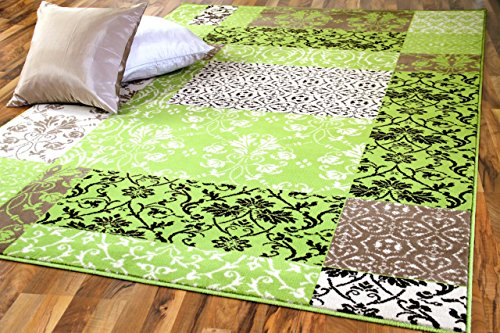 Designer Teppich Passion Grün Patchwork Karo in 4 Größen