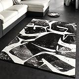 Alfombra De Diseño Moderna De Pelo Corto En Negro Gris Antracita Y Blanco, Grösse:160x220 cm
