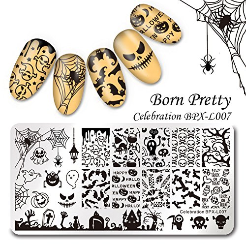 Monster High Tutorial (Born Pretty Nagel Schablonen Nail Art Stempel Plate Blumen BPX-L007 DIY)