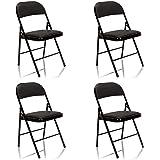 hjh OFFICE 803004 Tudela Lot de 4 chaises Pliantes en Cuir synthétique Noir Charge maximale 130 kg