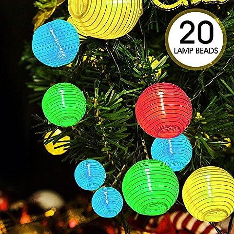 ikalula Solaire Lumineuse Lampes, Lumineuse Solaire, Chaîne Solaire Guirlande Lumineuse LED Solaire 20 LED 4,8 mètres Décoration Intérieure et Extérieure pour Noël Jardin Soirée et Cérémonie - 4 Colors