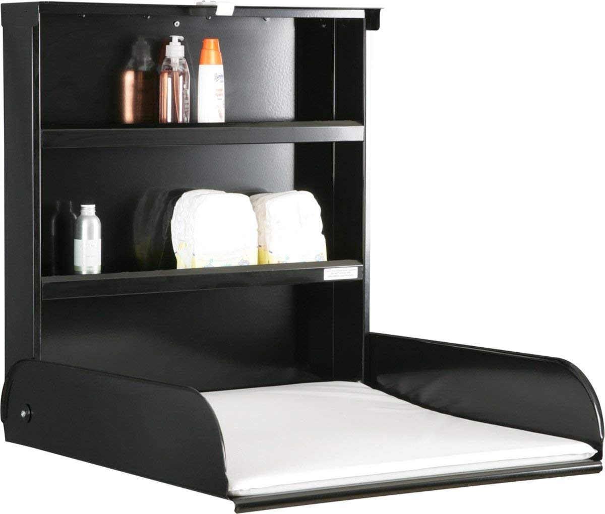 Changing table wall Fifi black Bybo design byBo design Open Dimensions: H 72.5x L 26.5x D 75Cm. Closed Size: L 76.5x 26.5cm. Finish: Painted Black. 1