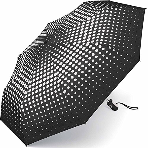 Esprit Damen Taschenschirm Easymatic3 mit Auf-Zu Automatik Punkte - Degradee Dots - black & white
