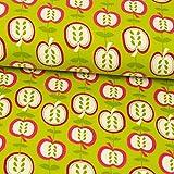 Stoffe Werning Bio Baumwolljersey Äpfel limegrün
