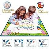 Magie Wasser Doodle Malmatte Für Kinder 70CMx50M,CJbrother Multicolor Doodle Matte zum Bemalen mit 2 Wasser Doodle Stifte + 1 Malerei-Vorlagen + 3 EVA-Grafik von CJbrother