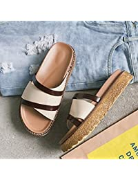 AJUNR Moda/elegante/Transpirable/Sandalias Fondo plano arrastrar y soltar calzado de playa bizcocho de 4cm de...
