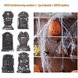 kungfu Mall 4PCS Lapidi tombe in Schiuma tombale di Halloween da Decorazioni per Feste di Halloween Prop, 1pc 60g Bianco Ragnatela Cobweb, Ragni 20PCS