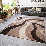 Wohnzimmer Teppich Modern Braun Beige Wellen Muster Friseé Teppiche Angenehm Weich Konturenschnitt Geprüft von 120x170 cm