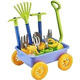 deAO Carretilla y Herramientas de Jardín para Niños y Niñas Juego de Botánica y Jardinería Infantil Conjunto Incluye 10 Acces