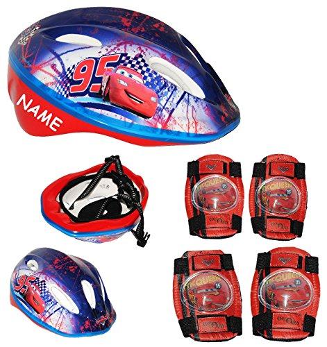 #Set: Kinderhelm + Schützer – Disney Cars Lightning McQueen – incl. Name – Gr. 52 – 56 – circa 3 bis 15 Jahre – verstellbarer Helm – Auto – für Kinder Jungen / Fahrradhelm größenverstellbar Schutz#