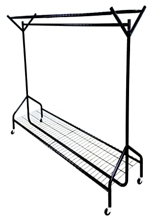 heavy duty clothes rail 4ft5ft6ft with shoe rack shelf and hat rack