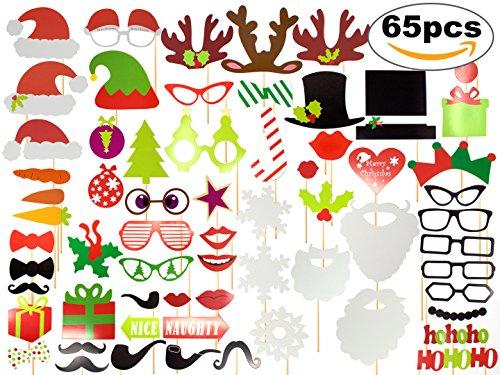 65er Set Photo Booth zu Weihnachten am Stiel mit Schnurrbart, Maske, Brille, Krawatte, etc. – Foto Props, Accessories und Foto Requisiten – ideal für Weihnachtsfeiern