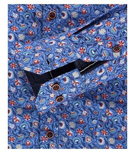 Venti - Slim Fit - Herren Langarm Hemd aus 100% Baumwolle mit modischem Druck (162538300 A) Blau (100)