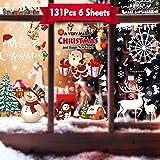 Rongyuxuan 2 Weihnachten Fenstersticker für Weihnachts und Winter Dekoration, Weihnachtsdekoration für Türen, Schaufenster,Vitrinen, Glasfronten, PVC Wiederverwendbar Schneeflocke Fensteraufkleber