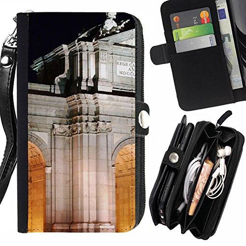 FJCases Madrid España Postal Vista Carcasa Funda Monedero Con Correa y Cremallera Carcasa Funda para Motorola Moto Z Play