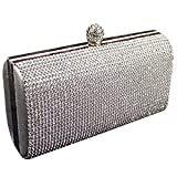 Shimmering Silver Diamante Encrusted Evening bag Clutch Purse Party Bridal Prom