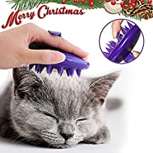 Cepillo de silicona para gatos (indoloro, supersuave, atrapa las pelusas, lavable), color morado