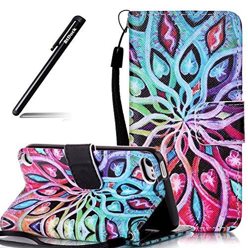 Schutzhülle für iPod Touch 6,BtDuck Tasche für iPod Touch 5/6 Schutzhülle Lederhülle Silikon PU Leder Stand Etui Bunt Get PU Lederhülle Handyhülle für iPod Touch 5/6 - Blume