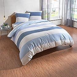Traumschlaf Biber Bettwäsche Streifen blau 200x220 cm + 2X 80x80 cm