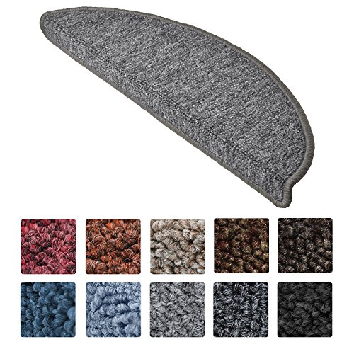 Beautissu 15 Set of Stair Pads ProStair 56x20x4cm Step Carpet Non Slip Adhesive Rug/Mat for Stair Tread Grey