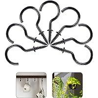 Black ASTARON 70 Pcs Mutli-Size Vinyl Coated Cup Hooks Metal Screw-in Hooks for Hanging Coffee Cup Plants
