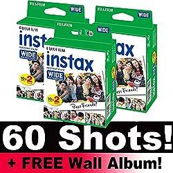 Fujifilm Instax Large film Bundle Lot (60Photos) + Gratuit mural Album.