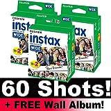 Set di pellicola Fujifilm Instax Wide per fotocamera istantanea, 60 foto, con album da parete incluso