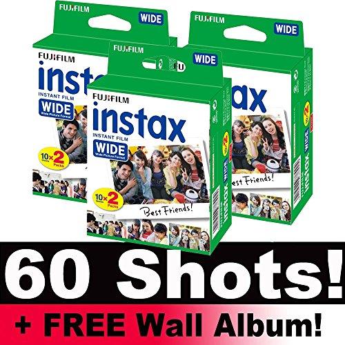 Película de fotografía Fujifilm Instax paquete de película ancho (60 disparos), con álbum de fotos