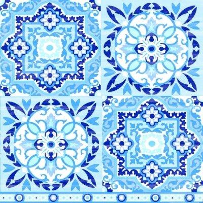 (Ambiente Papier bedruckt, 3-lagig, Tissue Servietten–Blue Fliesen, 20Stück 33x 33cm)