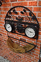Kingfisher GCTC Decorative Wall Planter with Clock and Thermometer - Multi-Colour by King Fisher