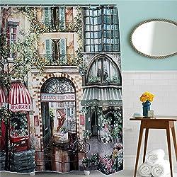 Generic 180X200Cm Vintage Old Street Waterproof Shower Curtain Bath Curtain With 12 Hooks