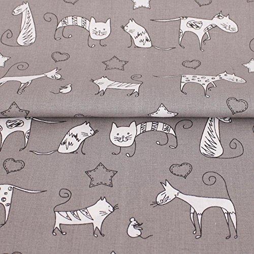 Verspielte Maus Kostüme (Stoff Meterware, Katze Kätzchen, Grau, Baumwolle, schadstoffgeprüft, Dekostoff, Kinderstoff, Kissenbezüge, Bettwäsche, zum Nähen und Schneidern, für Kinder,)