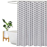 Encozy Shower Curtain Waterproof Mould Proof Resistant Bathroom Curtain Washable Bath Curtain with 16 Hooks (Black and White, 180X240cm)