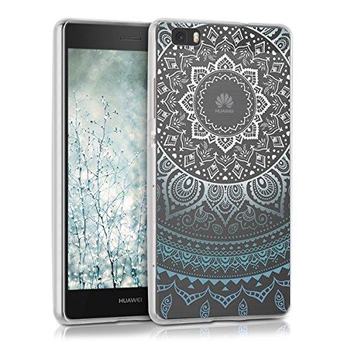 kwmobile Huawei P8 Lite (2015) Hülle - Handyhülle für Huawei P8 Lite (2015) - Handy Case in Blau Weiß Transparent