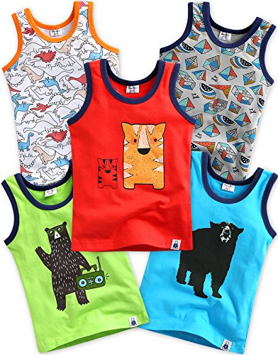 Vaenait baby 5 Pack Unterhemd Undershirts Jurassic/DJ Bear/Tiger Brother/Dancing Bear/Blue Dibo S