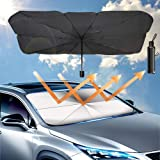 غطاء مظلة للسيارة قابلة للطي للزجاج الامامي للسيارة للحفاظ على برودة سيارتك ووقايتها من التلف، سهل الاستخدام يقي من الحرارة و