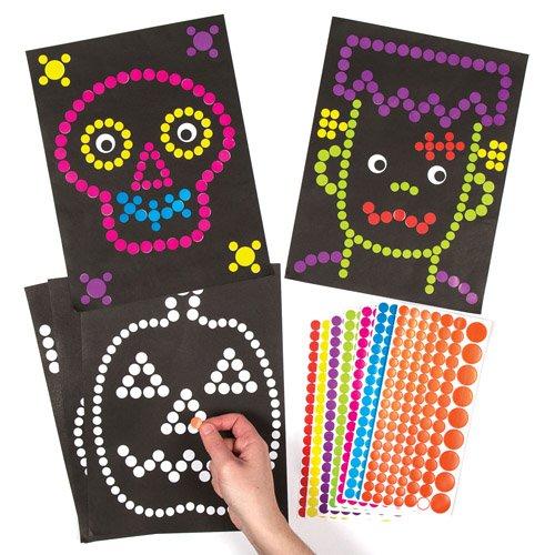 Baker Ross Herbstliches, kreatives Bilder-Bastelset mit Kunst aus Klebepunkten Halloween für Kinder zum Gestalten und Aufhängen (8 Stück)