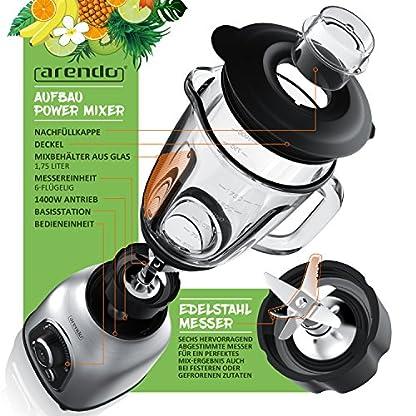 Arendo-Standmixer-Edelstahl-1400-Watt-24000-Umin-inkl-175-l-Glasbehlter-60-ml-Messbecher-kugelgelagertes-Edelstahlmesser-6-flgelig-Crush-Smoothie-Impulsfunktion-30-Leistungsstufen