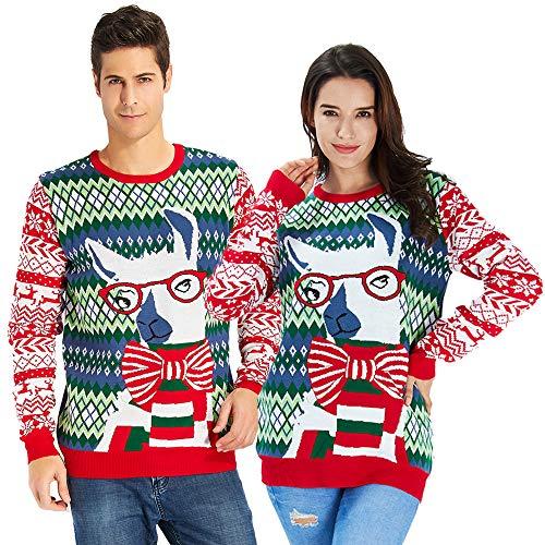 Goodstoworld Maglione di Natale Donna Uomo Unisex Famiglia Xmas Jumper Brutto Divertenti Elfi Ugly Christmas Maglione